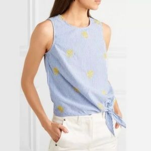J. Crew Embroidered Pineapple Side Tie Top Size 8